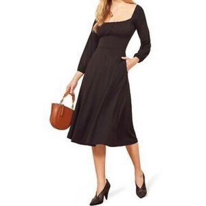 🌟NWT Reformation Pippa Black midi dress medium